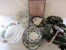 Various ceramics inc Spode, rucksack, stone club & 2 glass ceiling lights