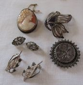 Silver and enamel butterfly brooch H 5.5 cm, silver cameo brooch and one other & 2 pairs of silver
