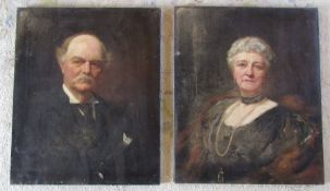Leon Sprinck (Russian,1862-1948) pair of unframed oil on canvas portraits signed and dated 1916 (