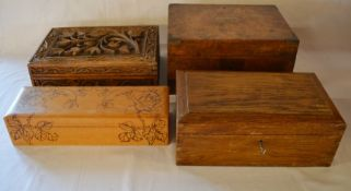 Victorian burr walnut veneer writing slope (with Grimsby School Board label) & 3 wooden boxes