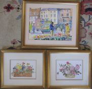 Framed watercolour 'Flower seller at Caistor' by Dorothy Burke 44 cm x 37 cm & pair of framed