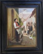 Framed oil on board of a street scene signed S Forbes 45 cm x 55 cm (size including frame)