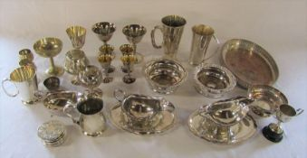 Quantity of silver plate inc goblets, wine coasters, dishes etc