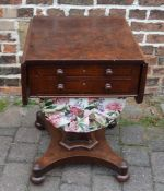 Victorian Pembroke style mahogany sewing table (one leaf support broken)