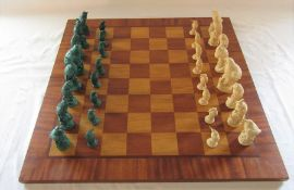 Large wooden chess board 62 cm x 62 cm (slight damage) with bird chess pieces (resin)