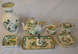 Mason's 'Chartreuse' pattern tea set, 6 side plates, vase & 3 other pieces