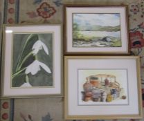 3 framed watercolours inc 'Bridge at Loch Cluanie' by Diane Brookes and still life by Margaret