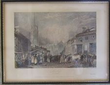Framed engraving of Louth Lincolnshire by J M W Turner, engraved by W Radclyffe published 1829 34.