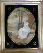 Framed 19th century needlepoint picture of a woman 43 cm x 53 cm (size including frame)