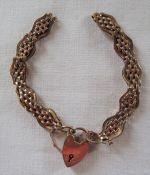 9ct gold bracelet and padlock (af) weight 13.3 g