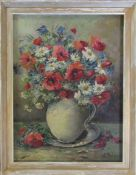 Framed oil on canvas still life of a vase of flowers signed lower right corner (possibly N Dechamps)