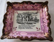 Large Sunderland lustre plaque with sailors farewell and verse, impressed with Dixon Phillips & Co