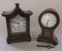Mantel clock H 25 cm (locked, no key) & inlaid clock H 22 cm