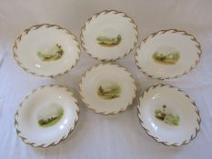Set of 6 hand painted Victorian plates, registration mark for 1850 with rural scenes and gilt