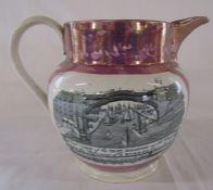Large Sunderland lustre jug with View of the Iron Bridge H 18.5 cm
