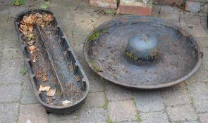 2 cast iron pig troughs