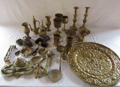 Quantity of brassware inc candlesticks and goblets etc