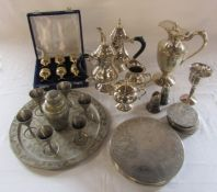 Various silver plate inc Indian drinking / cocktail set