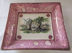 Large Sunderland lustre plaque with shield and farming theme L 22 cm
