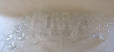 Assorted cut glass glasses etc