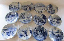 "Set of 12 Delft blue and white ""month"" calendar plates D 24 cm"