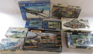 Selection of model kits inc Revell B-17 flying fortress, Tamiya Sherman M4A3 tank and M4A3E2 jumbo