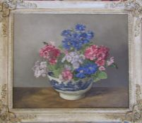 Alfred H Palmer (1911-1985) framed oil on board still life of a bowl of flowers, signed lower