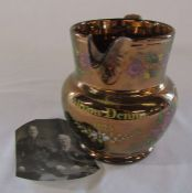 Gold lustre jug inscribed William Dennis 1825 decorated with flowers H 14 cm (with photograph of