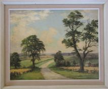 Clive Browne (1901-1991) framed oil on canvas 'Near Beelsby' June 1973 58.5 cm x 48 cm (size