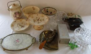 Various ceramics and glassware, kodak camera, crumb tray etc