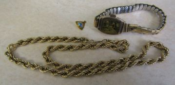 9ct gold rope chain (af) 6.9 g, 9ct gold scrap earring and 9ct gold watch case (missing face) with
