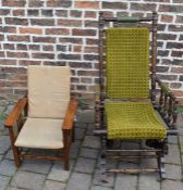 Early 20th century American rocking chair & a child's Art Deco adjustable chair