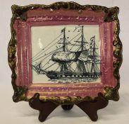 Sunderland lustre rectangular plaque depicting sailing ship dia. 22cm