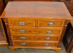 Yew wood veneer chest of drawers with half column corners & plate handles L 87cm Ht 74cm D 46cm