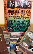 Quantity of CDs, DVDs, cassette tapes & 2 Beatles metal signs