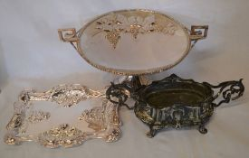 Large silver plate Art Deco tazza signed, silver plate Art Nouveau tray & a French metallic basket