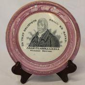 "Sunderland lustre circular plaque ""Adam Clarke Wesleyan Minister"", dia. 18cm"
