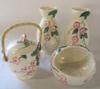 Pair of Maling ware lustre vases H 25.5 cm with basket dish & biscuit barrel