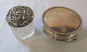 Silver trinket pot hallmarked 1918 and silver topped glass pot Birmingham hallmark