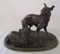 Bronze sculpture of a greyhound and spaniel signed P J Mene L 25 cm H 16.5 cm