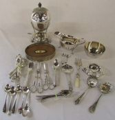 Assorted silver plate inc cutlery, egg coddler etc