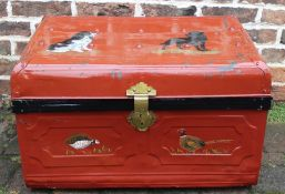 Tin trunk with hand-painted dog and pheasant decoration