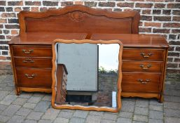 John E Coyle Ltd 2 chest of drawers, headboard and wall mirror