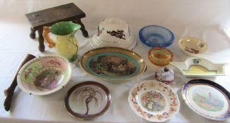 Various ceramics, 19th c mahogany folding boot jack (missing pulls), small stool and glassware,