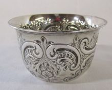 Victorian silver repousse bowl Sheffield 1898 H 5 cm D 8.5 cm weight 1.38 ozt (dent to underside)
