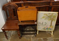 Victorian mahogany hall chair, small oak occasional table, magazine rack & a French hand painted