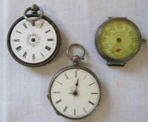 2 silver pocket watches (af) & High Life Watch co swiss made service watch (af)