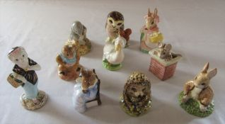 Beswick Beatrix Potter figures from the 1980s - Old Mr Pricklepin 1983, Cottontail 1985, Susan 1983,