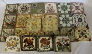 Approximately 24 Victorian and later tiles including Minton