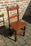 Late Victorian gothic revival metamorphic Library steps / chair